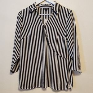 Talbots Striped Faux-wrap Collared Popover Top